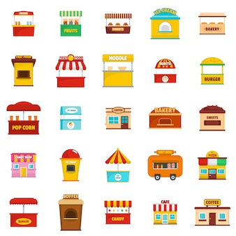 Street food kiosk icons set