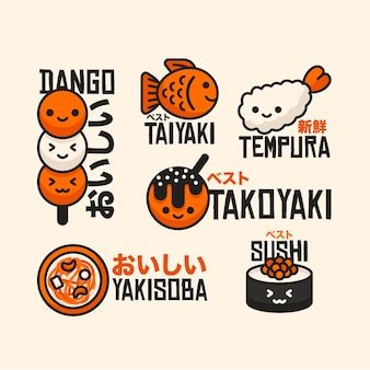 Street food logos flat design