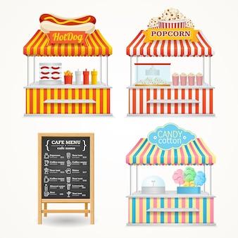길거리 음식 시장 세트 및 메뉴 칠판.