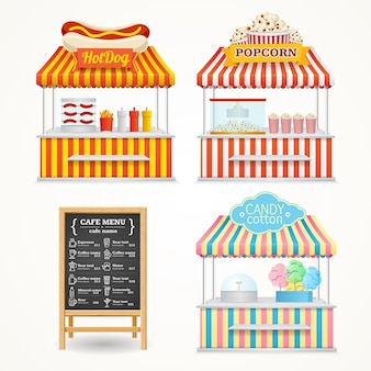 Street food market set and menu blackboard.