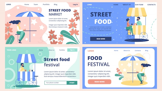 Street food market website templates set
