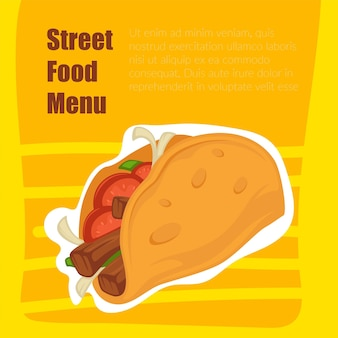 Street food menu, taco with meat and tortilla