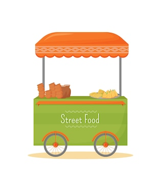 Street food mobile kiosk cartoon . indian traditional cuisine trade stall flat color object. street trading, fast food tent on wheels isolated on white background