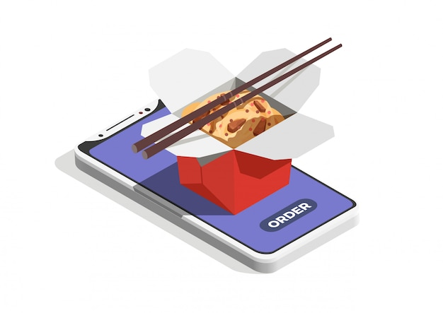 길거리 음식 온라인 주문 개념