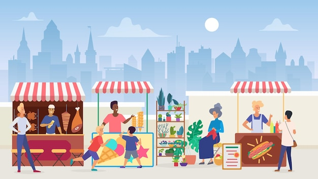 Street food open air market, outdoor marketplace in megapolis on modern cityscape