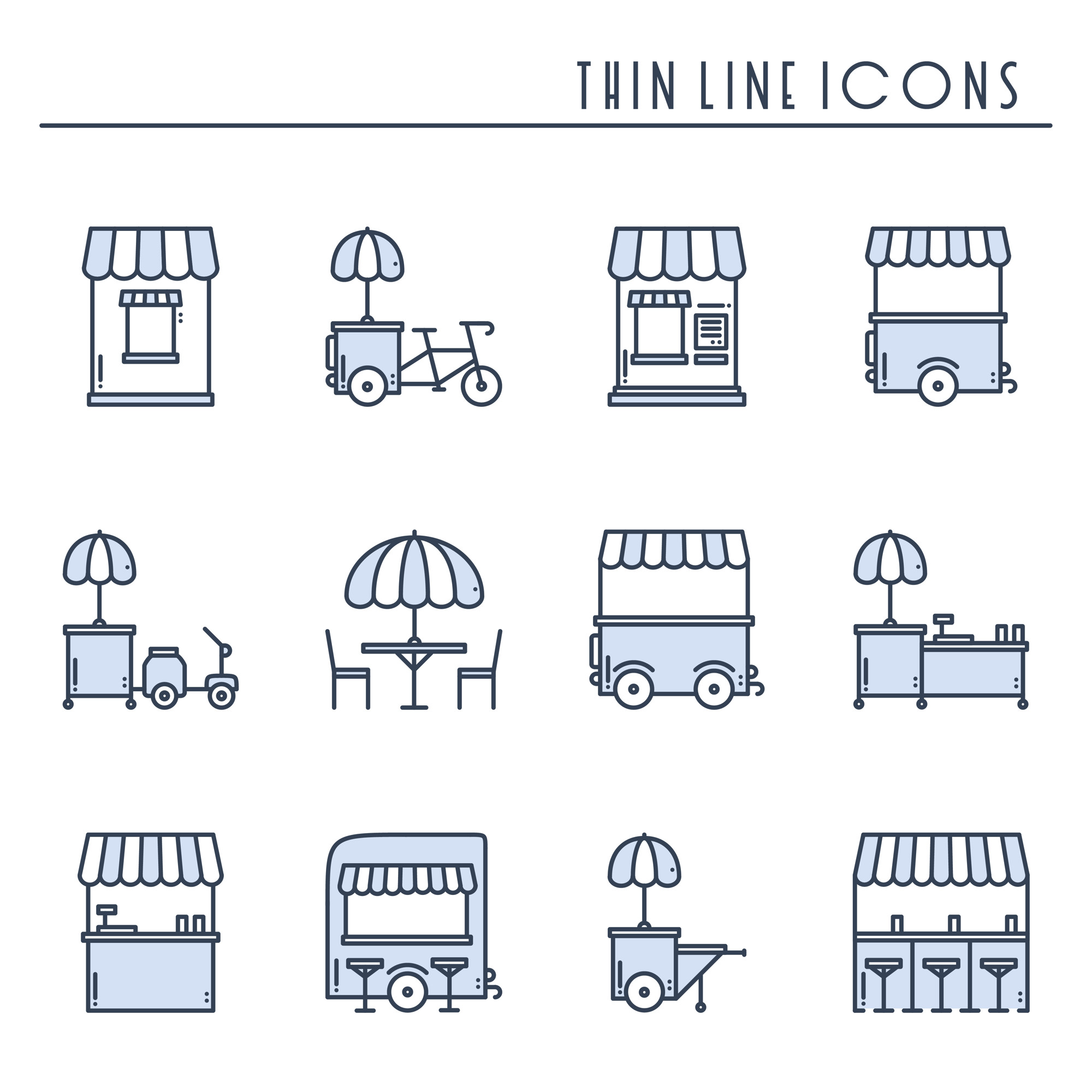 Street food retail icons. Food truck, kiosk, trolley, wheel market stall, mobile cafe