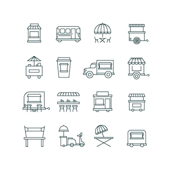 Street food retail, truck line icons