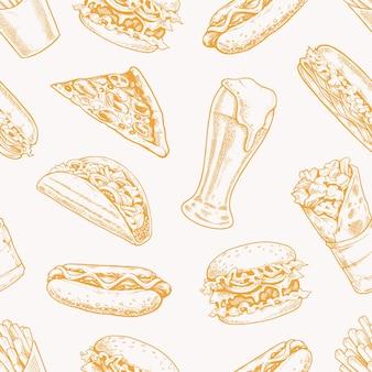 Уличная еда бесшовные модели дизайн оберточной бумаги желтый стиль гравировки иллюстрации
