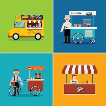 Уличный продовольственный магазин плоский дизайн Premium векторы
