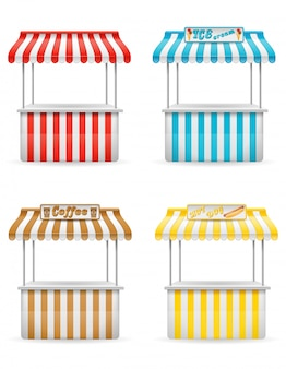 Street food stall vector illustration