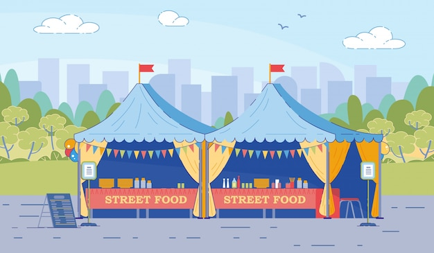 Street food tents with table chairs in flat style