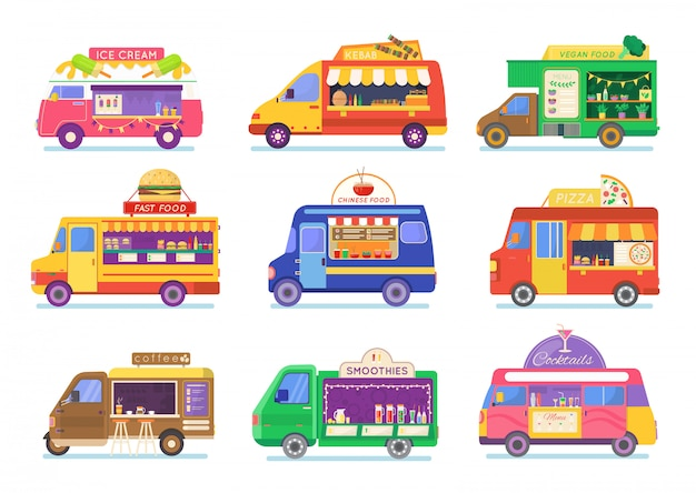 Street food truck set illustration, cartoon van selling chinese streetfood or pizza kebab in market, coffee icons isolated on white