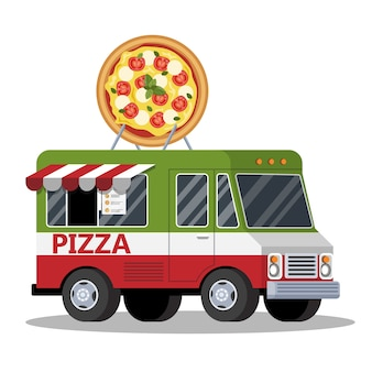 길거리 음식 트럭. 밴에서 맛있는 피자