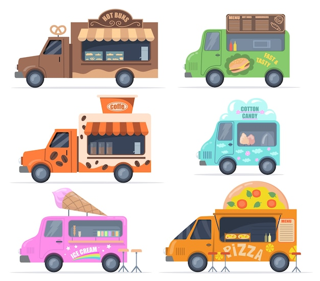 Street food trucks set. colorful buses for selling pastry, fast food, cotton candy, coffee, ice cream, pizza. vector illustrations collection for catering, outdoor cafe, menu, food fair concept