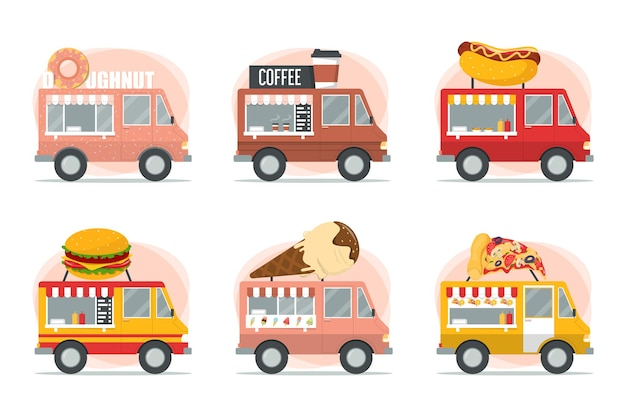 길거리 음식 트럭 세트 피자, 버거, 핫도그 및 아이스크림 공급 업체