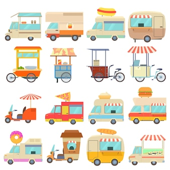 Street food vehicles icons set