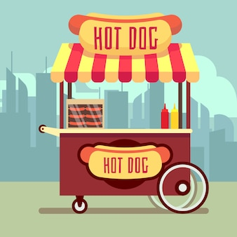 Street food vending cart with hot dogs in flat style
