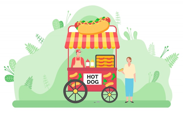 Street food vending cart with hot dogs