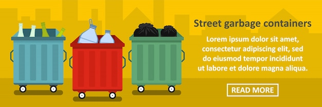 Street garbage containers banner horizontal concept