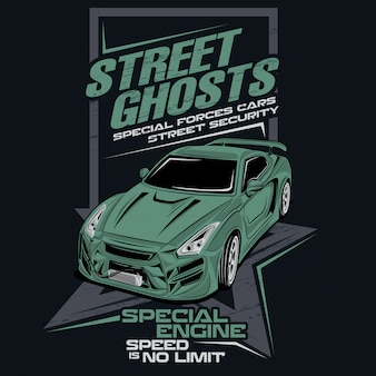 Street ghosts special forces, vector car illustration
