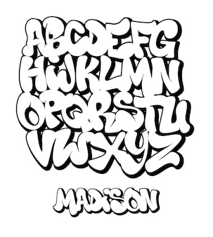 ストリートグラフィティフォント、手書きのタイポグラフィイラスト。