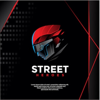 Street heroes, warrior logo template