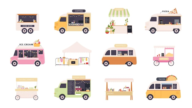 Street kiosks. fast food trucks, tents and popcorn cart for outdoor summer fair. festival market stall with flowers and clothes vector set. van street food, truck transportation illustration