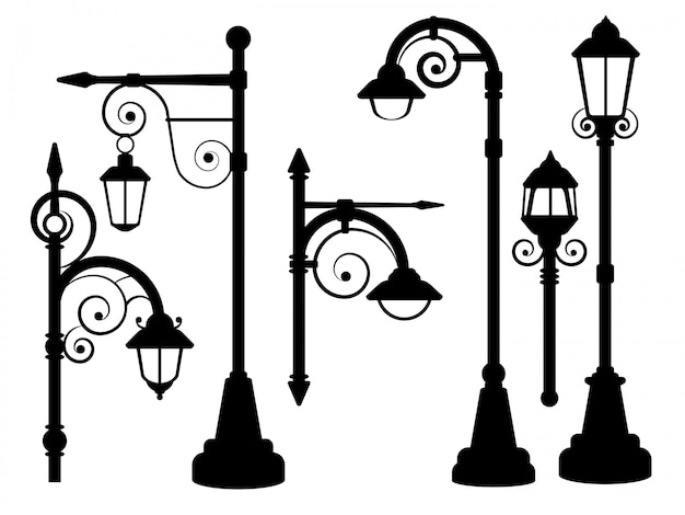 Street lamp road lights vector silhouettes