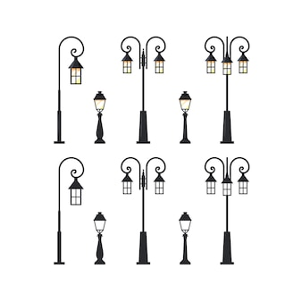Street lamppost. set of city lanterns isolated