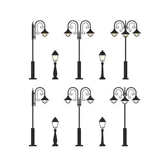 Улица фонарный столб, набор плоской иллюстрации