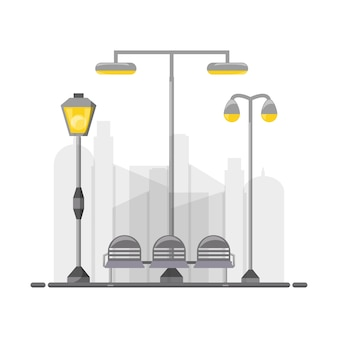Street lamps and chair icon