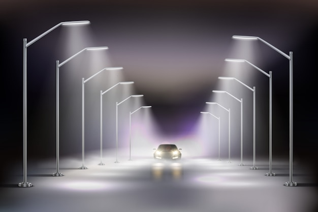 Street lights realistic in fog composition with car in the light of night street lamps  illustration