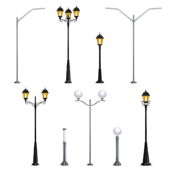 街灯イラストの異なるスタイルで白い背景に設定された現実的なアイコン