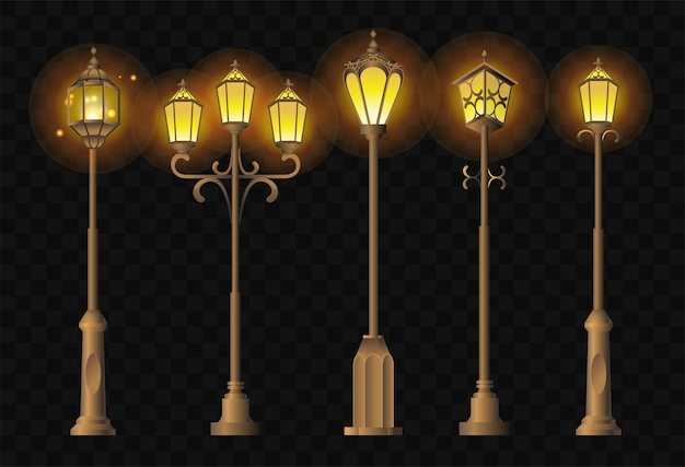 Уличные фонари - реалистичный современный векторный набор города различной формы, городских фонарей. черный фон. качественный клип-арт для презентаций, баннеров. винтажные фонарные столбы, чтобы осветить ваш путь.