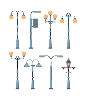 Street lights set. traditionally and retro city lighting lamps antique vintage