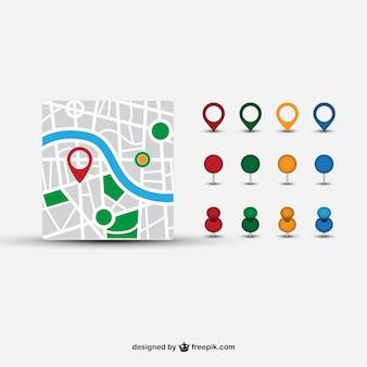 Mappa del quartiere e diversi puntatori
