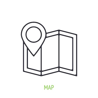 Street map outline icon vector illustration city navigation to famous places