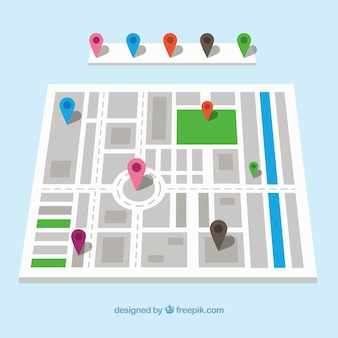複数色のピンがあるストリートマップ