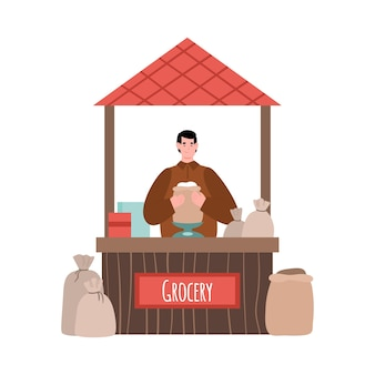 Street market counter with grocery illustration