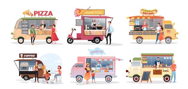 Продовольственный грузовик уличного рынка, набор иллюстраций открытого кафе.
