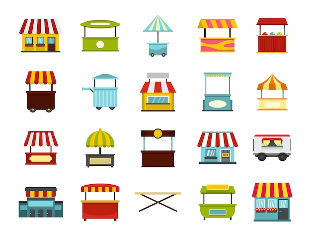 Street market icon set. flat set of street market vector icons collection isolated