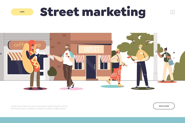 Street marketing and promotion concept of landing page with promoters in costume distributing flyers to people and gluing posters on pillars in park. cartoon flat vector illustration