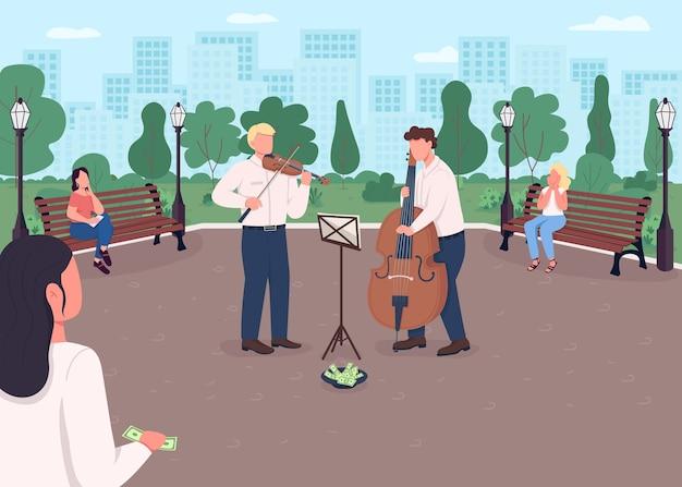 Группа уличной музыки плоский цвет. скрипач и виолончелист зарабатывают деньги. открытый концерт музыкальных инструментов. классические музыканты 2d мультяшные персонажи с городским парком на заднем плане