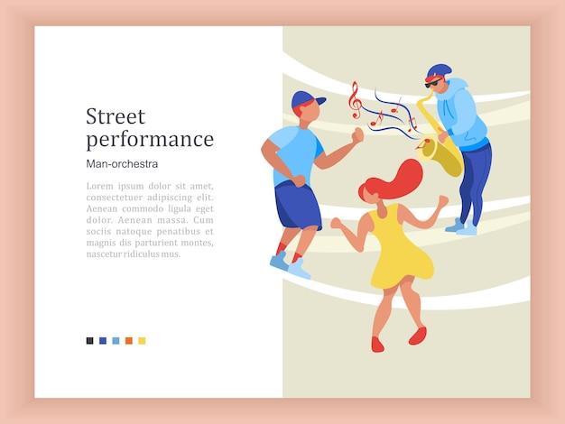 거리의 음악가. 색소폰 연주자, 바이올리니스트, 기타리스트, 댄서. 거리 공연.