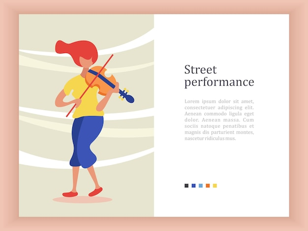 거리의 음악가. 소녀는 바이올린을 연주합니다. 벡터 일러스트 레이 션.