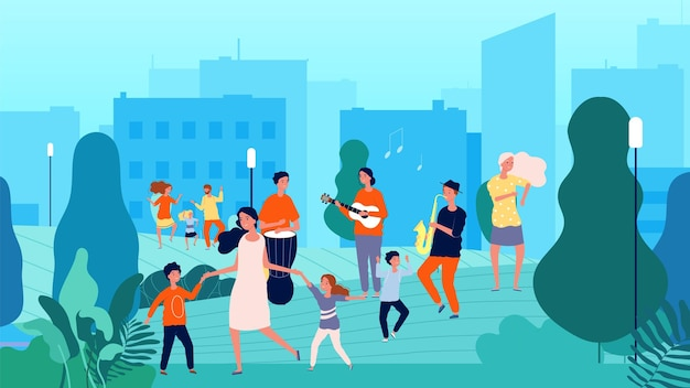 Уличные музыканты. музыкальный праздник, семейные танцы. плоская иллюстрация шаржа