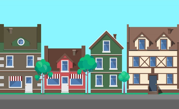 Street of old town, city with architecture vector
