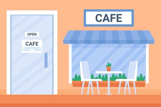 창문과 문이 있는 도시의 거리 오픈 카페 외관 집 커피숍 도시 건물 외관