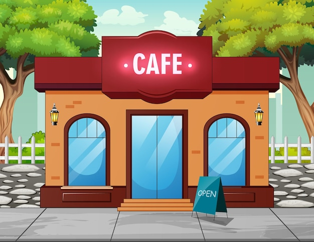 도시의 거리 오픈 카페 외관 집