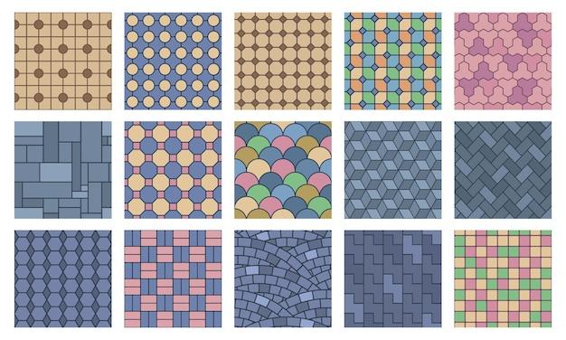 거리 포장, 건축 포장 돌 매끄러운 질감. 돌 석판, 벽돌 건축 포장 바닥 벡터 일러스트 레이 션. 풍경 포장 돌 패턴입니다. 타일 벽돌 건축 포장